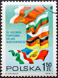 Stamp Poland. POLAND - CIRCA 1975: A stamp printed in Poland,anniversary of the Warsaw Pact,circa 1975 stock photo