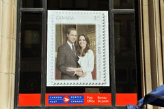Stamp poster in Canada Post Office window Stock Photography