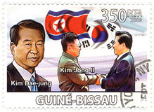 Stamp with president of North Korea Kim Dae Jung Stock Image