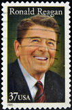 Stamp with President Ronald Reagan. UNITED STATES OF AMERICA - CIRCA 2005: A stamp printed in the United States of America shows image of former President Ronald Stock Photo