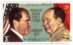 Stamp president of USA Nixon. Stamp with president of USA Nixon visits China Royalty Free Stock Images