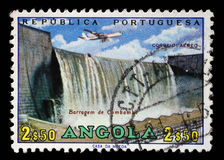 Stamp printed in Angola shows Cambambe Dam, Cambambe Hydroelectric Power Station on Kwanza River Stock Image
