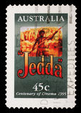 Stamp printed in Australia commemorating centenary of cinema, shows film Jedda Stock Image