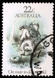 Stamp printed in Australia dedicated to the gold rush era Royalty Free Stock Photos