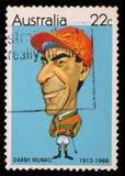 Stamp printed in Australia shows Australian sportsmen Jockey Darby Munro Stock Images