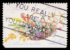 Stamp printed in Australia shows the Bunch of flowers with the description `Thinking of You`, Special Occasions. A stamp printed in Australia shows the Bunch of Royalty Free Stock Image