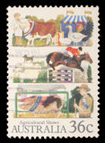 Stamp printed in Australia shows the Livestock stock photo