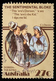 Stamp printed in Australia, shows The Sentimental Bloke, by C.J. Dennis Stock Images