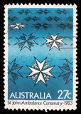 Stamp printed in Australia shows st john ambulance centenary Royalty Free Stock Photos