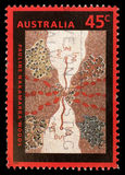Stamp printed in the Australia shows Wild Onion Dreaming, by Pauline Nakamarra Woods, Aboriginal Painting Royalty Free Stock Photography