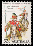 Stamp printed in Australia shows New South Wales Lancers Royalty Free Stock Photo