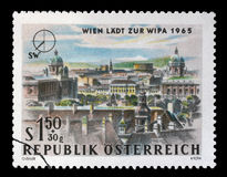 Stamp printed in Austria, is dedicated to the Vienna International Philatelic Exhibition Stock Photography