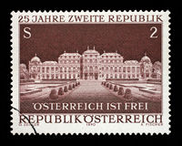 Stamp printed in Austria, devoted to 25th anniversary of Second Republic, shows the Belvedere Palace, Vienna Stock Image