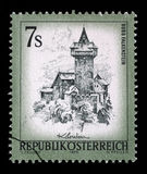 Stamp printed in Austria shows Burg Falkenstein. A stamp printed in Austria shows Burg Falkenstein, from the series Sights in Austria, circa 1973 Royalty Free Stock Images