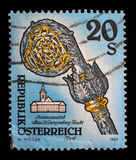 Stamp printed in the Austria shows Crosier, Fiecht Monastery, Tirol. A stamp printed in the Austria shows Crosier, Fiecht Monastery, Tirol, circa 1993 Royalty Free Stock Image