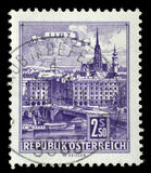 Stamp printed by Austria, shows Danube Bridge, Linz. Circa 1962 stock photos