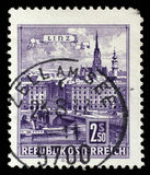 Stamp printed by Austria, shows Danube Bridge, Linz. Circa 1962 stock photography