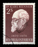 Stamp printed in Austria shows Karl Renner Royalty Free Stock Image
