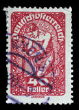 Stamp printed in the Austria shows Man, Allegory of New Republic Stock Photo