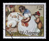 Stamp printed by Austria, shows Motherhood, Watercolor Royalty Free Stock Photography