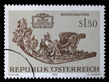 Stamp printed in the Austria shows Racing Sleigh Royalty Free Stock Photos