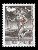 Stamp printed by Austria, shows Runner with Olympic Torch Stock Images