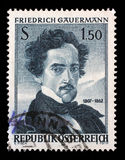 Stamp printed by Austria, shows self portrait of Friedrich Gauermann. A stamp printed by Austria, shows self portrait of Friedrich Gauermann, 100th Anniversary Royalty Free Stock Photography