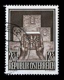 Stamp printed in the Austria shows Symbolic of Austria`s Admission to the UN. A stamp printed in the Austria shows Symbolic of Austria`s Admission to the UN Stock Photo
