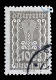 Stamp printed in Austria shows Symbols of Agriculture Royalty Free Stock Images