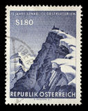 Stamp printed by Austria shows view of Hoher Sonnblick summits with its Observatory. A stamp printed by Austria shows view of Hoher Sonnblick summits with its Stock Photo