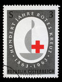 Stamp printed in the Austrian, is dedicated to the 100th anniversary of the International Red Cross Stock Photography