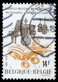 Stamp printed by Belgium dedicated to Anniversary of Music Chapel of Queen Elizabeth Royalty Free Stock Image