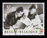 Stamp printed in Belgium is dedicated to the 100th anniversary of the International Red Cross Royalty Free Stock Image