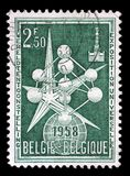 Stamp printed in the Belgium shows The Atom and Exposition Emblem, 1958 Worlds Fair. A stamp printed in the Belgium shows The Atom and Exposition Emblem, 1958 stock image