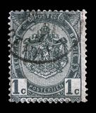 Stamp printed in Belgium shows Belgian coat of arms. Circa 1893 Stock Photos