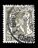 Stamp printed in Belgium shows Belgian coat of arms. A stamp printed in Belgium shows Belgian coat of arms, circa 1912 Stock Photo