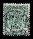 Stamp printed in Belgium shows Belgian coat of arms. Circa 1893 Stock Photo