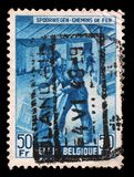 Stamp printed in Belgium shows Box-shipper Royalty Free Stock Image