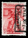 Stamp printed in Belgium shows Box-shipper Royalty Free Stock Photography