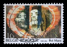 Stamp printed by Belgium shows the image of the Belgian artist Pol Mara Royalty Free Stock Photo
