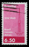 Stamp printed in Brazil with image of Brasilia abstract symbol to commemorate the founding of Brazil`s capital Stock Image