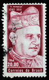 Stamp printed by Brazil. In memoriam Pope John XXIII Royalty Free Stock Photos