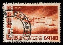 Stamp printed by Brazil shows The 50th Anniversary of the Dumont`s First Heavier-than-air Flight Stock Photo