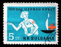 Stamp printed in Bulgaria devoted to 100 anniversary of the Red Cross Stock Photography