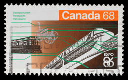 Stamp printed in Canada from the `Expo 86 World`s Fair` issue shows Vancouver transportation Stock Photos