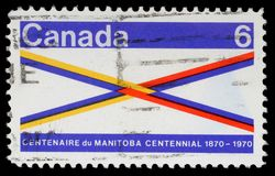 Stamp printed in Canada honoring Manitoba Centennial Stock Image