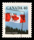 Stamp printed by Canada, shows Canadian flag Royalty Free Stock Photography