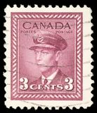 Stamp printed in the Canada shows King George VI Stock Photos