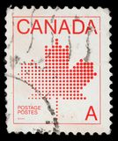 Stamp printed in Canada shows maple leaf, a symbol of Canada. A stamp printed in Canada shows maple leaf, a symbol of Canada, series, circa 1981 stock image