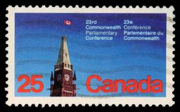 Stamp printed in the Canada shows Peace Tower, Parliament, Ottawa. A stamp printed in the Canada shows Peace Tower, Parliament, Ottawa, 23rd Commonwealth Stock Images